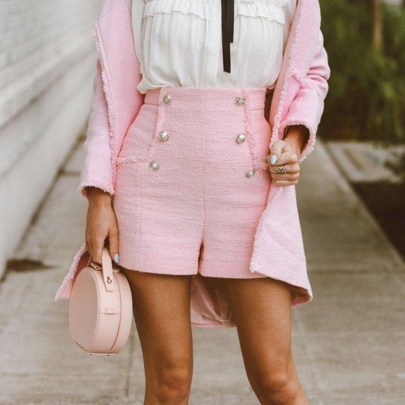Women Pink Tweed Shorts High Waist Shorts Ruffled Shorts Pink Tweed Pants Women Tweed Short Pants Elegant Short Pants Costume Shorts